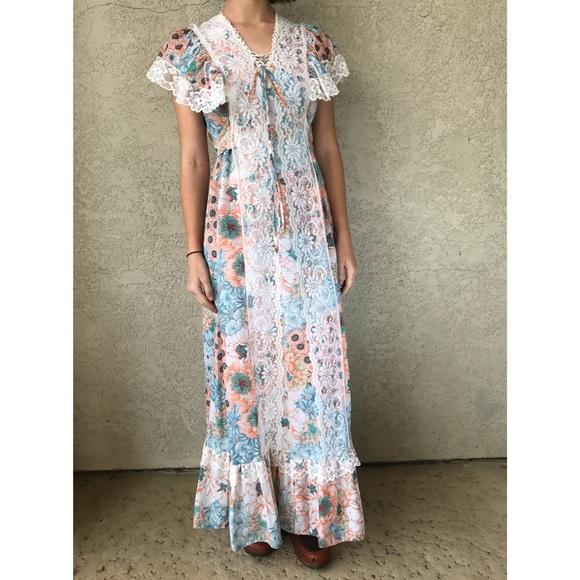 2be04ac8e923 Vintage Dresses | Floral Lace Prairie Maxi Dress | Poshmark